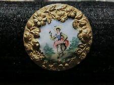 Antique Enamel Brass Button Woman with Hat Brass  Vintage
