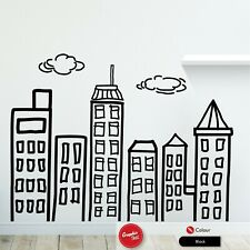 Doodle City Skyline Wall Art Sticker Large Bedroom Vinyl Childs Nursery Decal