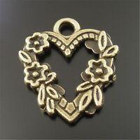 40 pcs Antique Style Bronze Alloy Flower Lace Love Heart Charms Pendants 19x18mm