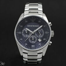 Emporio Armani Herrenuhr AR5860 Farbe: Silber / Blau Anthrazit Chronograph