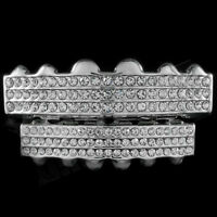 14k White Gold Plated Iced Out GRILLZ Top Bottom Silver Set JOKER Teeth Hip Hop