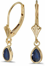 14k Yellow Gold PEAR Sapphire Bezel Lever-back Earrings