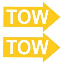 2 x TOW YELLOW ARROWS Race / Rally Car Decals / Body Panel Stickers