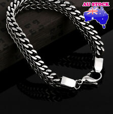 8inches Mens Stainless Steel Silver Bracelet Chain Link Bangle