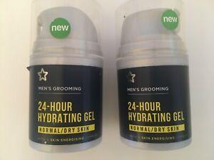 2 x Men's Grooming - 24 HOUR HYDRATING GEL MOISTURISE - NORMAL/DRY SKIN  50 ml