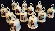Norman Rockwell Bell Danbury Mint Porcelain Ltd Edition Sept 1979 set of 12