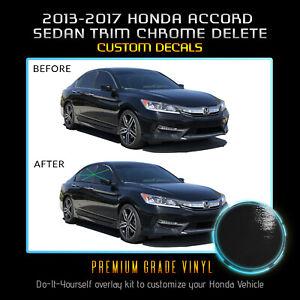 Fit 13-17 Honda Accord Sedan Window Trim Chrome Delete Blackout - Glossy Black