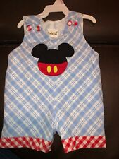 Sz 9m Bbeeni Micky Mouse Shortall Jon Jon Outfit Romper EUC Disney