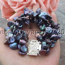 "Black Keshi Pearl Bracelet H071010 8"" 3 Strands"