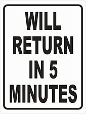 Will Return In 5 Minutes Sign Size Options Business Hours Open Closed Back