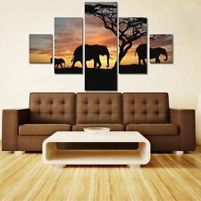5Pcs Modern Elephant Sunset Canvas Wall Art Print Oil Painting Home Decor Gift B