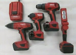 Hilti 5PC Set - (See Details) Pre-owned! 4 Batteries