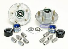 (2) Galvanized Trailer Hub Kits 3500lb 5 Lug Greased w/ Stainless Steel Lug Nuts
