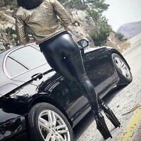 FEMME LEGGING FAUX CUIR SKINNY PUSH UP STRETCH GRANDE TAILLE S AU 5XL