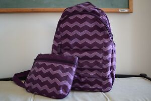 Thirty-One Backpack and Cross-body Purple Chevron Purse