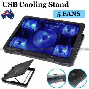 "Adjustable Height Laptop Notebook Cooling Pad 5 Fans LED Fit 7""-17"" AU Ship"