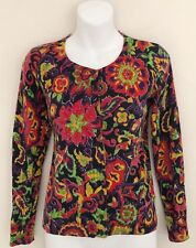 TALBOTS PETITES Women Cardigan Sweater PS Button Black Red Purple Green Floral