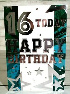 16 Today, Happy Birthday Card For 16th With Stars