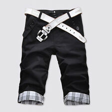 UK Stock Men Casual Summer Cargo Combat Chino Cotton Pant Work Trousers Shorts Black 32