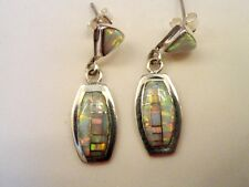 Smaller WHITE with pink green FIRE OPAL Dangle Sterling Silver 925  Earrings