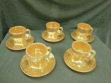 FIRE KING Lusterware Carnival Glass CUPS & SAUCERS Orange Peach Gold Ovenware