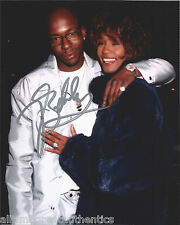 SINGER BOBBY BROWN SIGNED AUTHENTIC 8X10 PHOTO w/WHITNEY HOUSTON E w/COA PROOF