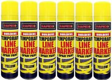 6 x Yellow Temp Line Marking Spray 300m Fast Drying Paint Road Marker Construct