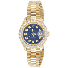 Rolex 18K золото 26 мм президента Datejust 69178 Vs алмазные часы синий циферблат 2.08 кар