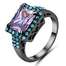Elegant Purple Amethyst Wedding Ring 10KT Black Gold Filled Women's Gift Size 8