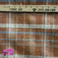 Home Decor Orange Plaid Heavy Upholstery Fabric by the Yard