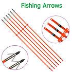 "32"" Bowfishing Arrows Archery Fish Hunting Fiberglass Shaft Safe Slide Tips 6X"
