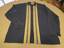 Mens Bobby Chan L silk bamboo long sleeve button up shirt casual blue white NWT@