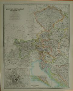 1887 LARGE VICTORIAN MAP ~ AUSTRO-HUNGARIAN MONARCHY WESTERN ~ VIENNA ENVIRONS
