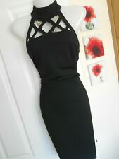**STUNNING** JANE NORMAN SIZE 14 BLACK CAGE NECK WIGGLE DRESS *FAST POSTAGE**