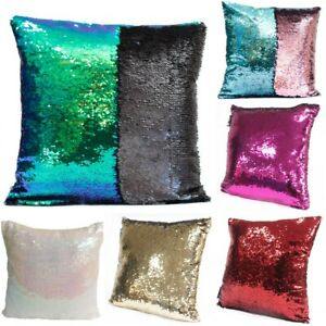 2x Shiny Color Change Mermaid Sequined Cushion Cover Throw Pillow Case