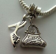 Handbag Purse Bag High Heel Shoe Dangle Charm Beads Fit European Style Bracelet