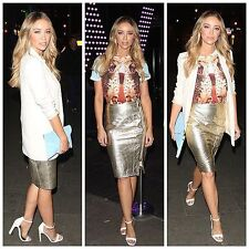 £149 BNWT House of CB Celeb Boutique Tanta Gold Leather Metallic Pencil Skirt XS
