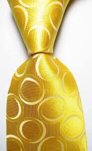 New Classic Polka Dot Yellow White JACQUARD WOVEN 100% Silk Men's Tie Necktie