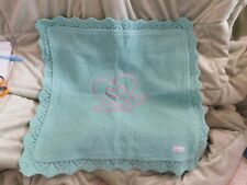 "American Girl Bitty Baby Teal Crocheted Blanket 18"" Square Gu Vintage Retired"