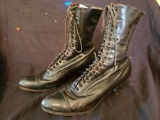 Victorian black leather lace up boots