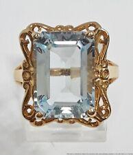 Brand New Genuine Aquamarine 7.7ct  Designer Signed CID10K Gold Ladies Ring