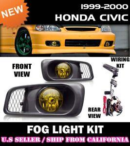 [yellow] 99 00 HONDA CIVIC EK9 SEDAN COUPE EK Fog Light Lamp Kit w/switch wiring