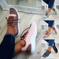 New Womens Lace Up Trainers Flat Gym Comfy Lightweight Ladies Shoes Sizes 3-8