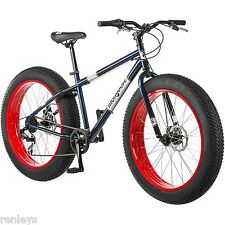 """26"""" Mongoose Dolomite Men's 7-speed Fat Tire Mountain Bike, Navy Blue/Red NEW"""