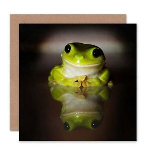 Birthday Animal Green Frog Smiling Blank Greeting Card With Envelope