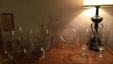 "Tiffin-Franciscan Crystal LAUREL WREATH seven 6"" Glasses & eight 8"" plates"