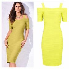 Kaleidoscope size 10 Simply Fab Lemon Lime Rib Cold Shoukder DRESS