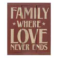 """Red Painted Wooden 3-Panel Sign """"Family Where Love Never Ends"""""""