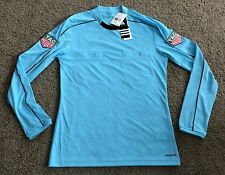 New Adidas Referee Jersey Long Sleeve Shirt Tag Heuer Men's Size Small Blue