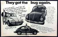"1973 VW Volkswagen Beetle photo ""They Got the Bug Again"" vintage print ad"